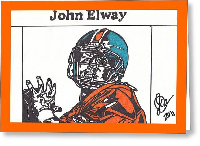 John Elway Art Greeting Cards - John Elway 2 Greeting Card by Jeremiah Colley