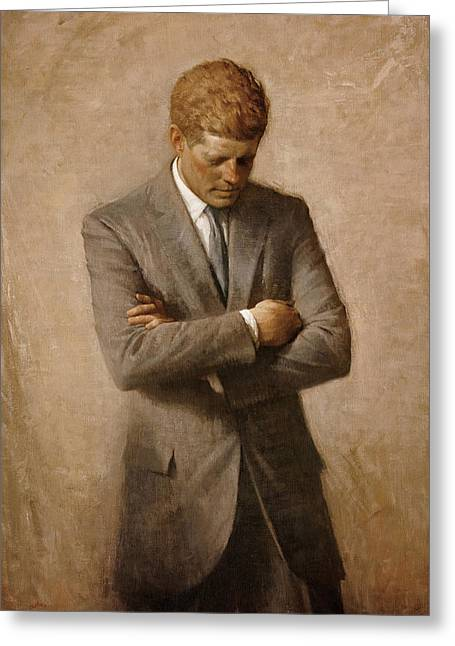Johns Greeting Cards - John F Kennedy Greeting Card by War Is Hell Store