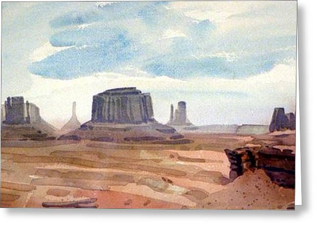 Navajo Tribal Park Greeting Cards - John Ford Point Panorama Greeting Card by Donald Maier