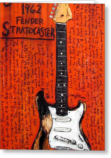 Musicians Paintings Greeting Cards - John Frusciante 1962 Stratocaster Greeting Card by Karl Haglund
