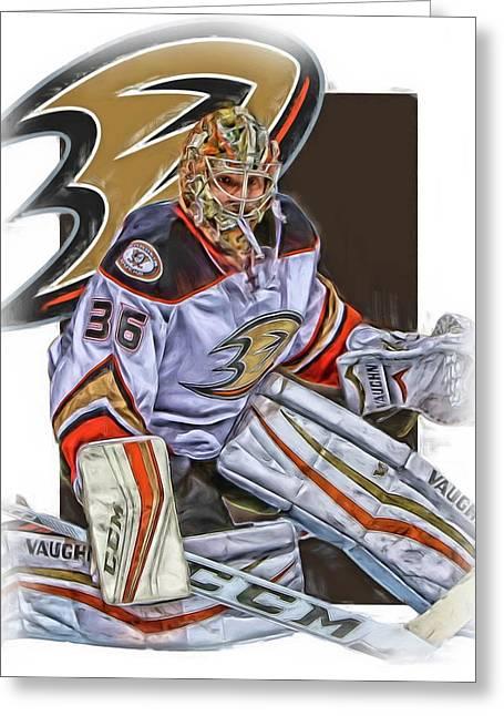 John Gibson Anaheim Ducks Oil Art Greeting Card by Joe Hamilton