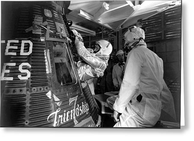Us History Greeting Cards - John Glenn Entering Friendship 7 Spacecraft Greeting Card by War Is Hell Store