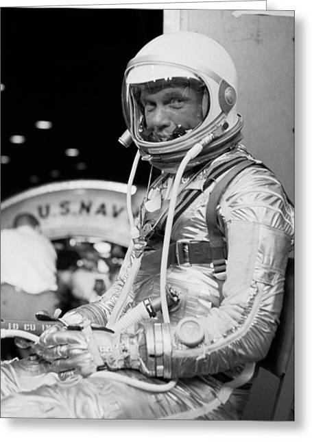 American Politician Photographs Greeting Cards - John Glenn Wearing A Space Suit Greeting Card by War Is Hell Store