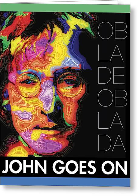 Fab Four Greeting Cards - John Goes On Greeting Card by Stephen Anderson