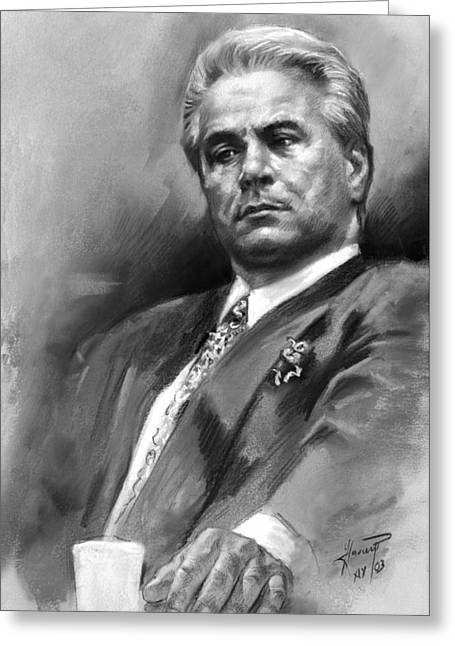Charcoal Portrait Greeting Cards - John Gotti Greeting Card by Ylli Haruni