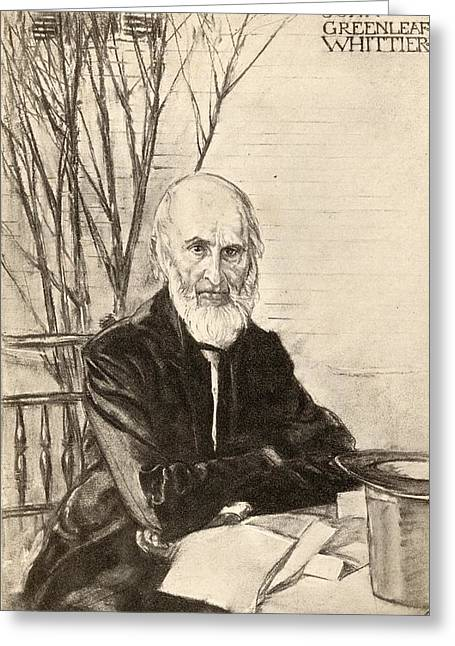 Abolitionist Greeting Cards - John Greenleaf Whittier 1807-1892 Greeting Card by Ken Welsh