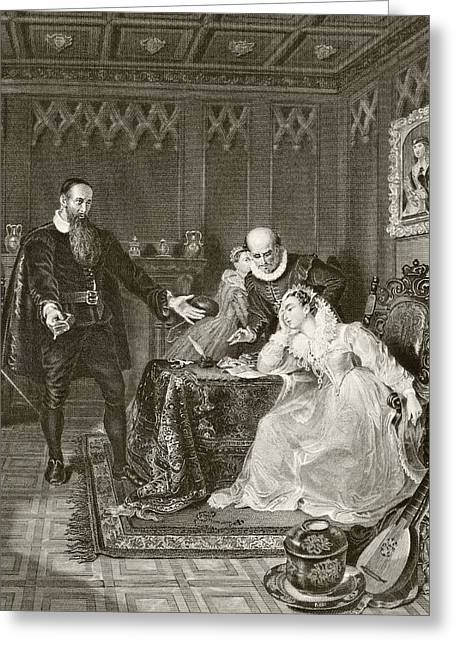 Mary Philips Greeting Cards - John Knox Admonishing Mary Queen Of Greeting Card by Ken Welsh