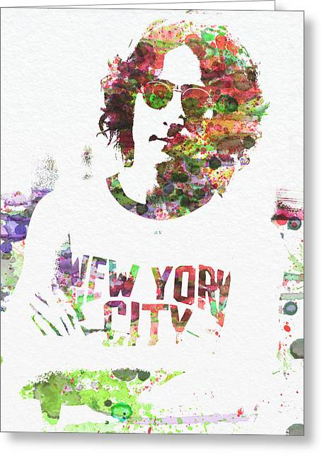 Beatles Paintings Greeting Cards - John Lennon 2 Greeting Card by Naxart Studio