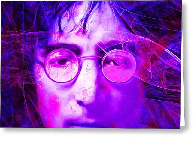 John Lennon Imagine 20160521 Square V2 Greeting Card by Wingsdomain Art and Photography