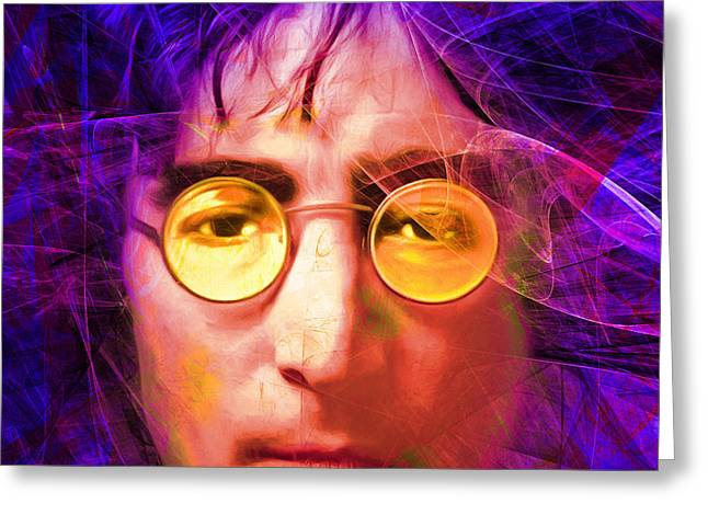 John Lennon Imagine 20160521 Square V3 Greeting Card by Wingsdomain Art and Photography