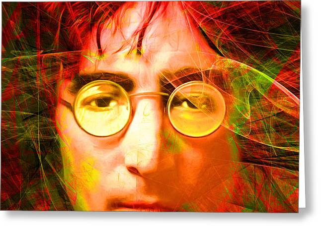 John Lennon Imagine 20160521 Square Greeting Card by Wingsdomain Art and Photography