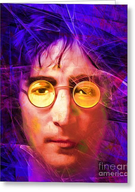 John Lennon Imagine 20160521 V3 Greeting Card by Wingsdomain Art and Photography
