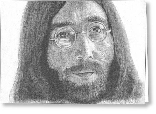 John Lennon Greeting Card by Jeff Ridlen