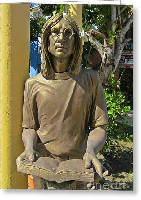 Beatles Sculptures Greeting Cards - John Lennon Greeting Card by John Lennon