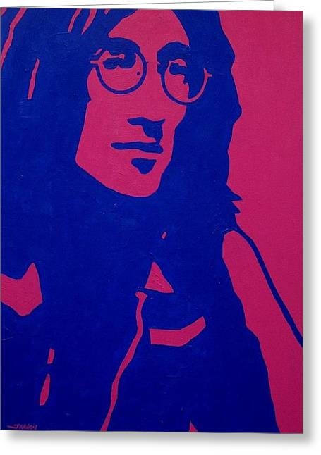 The Beatles. Celebrity Portraits Greeting Cards - John Lennon Greeting Card by John  Nolan