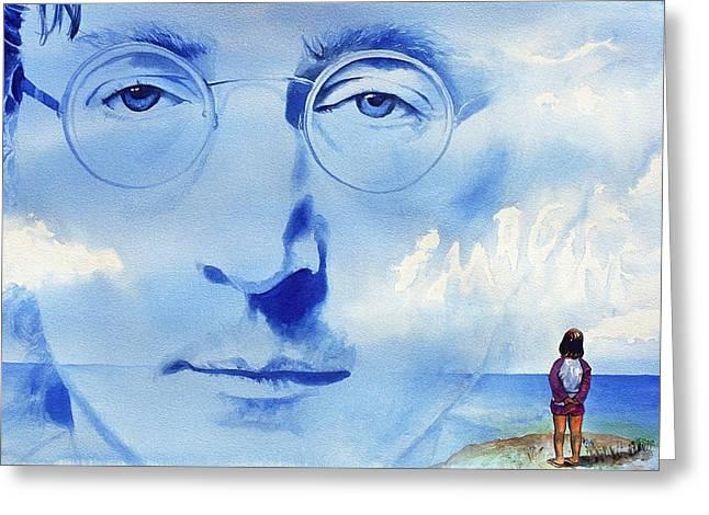 John Lennon Greeting Card by Ken Meyer jr