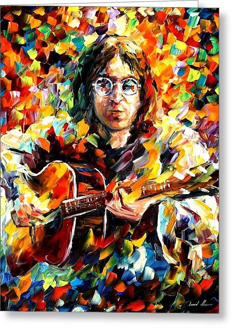 Beatles Paintings Greeting Cards - John Lennon Greeting Card by Leonid Afremov