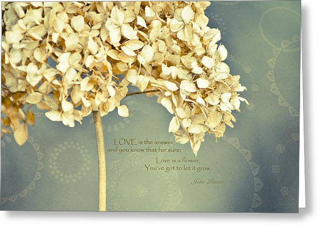 John Lennon Quote Greeting Cards - John Lennon Love Greeting Card by Trish Tritz