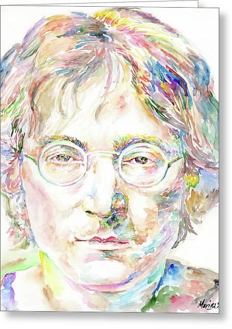 Original Robert Plant Paintings Greeting Cards - John Lennon Greeting Card by Marina Sotiriou