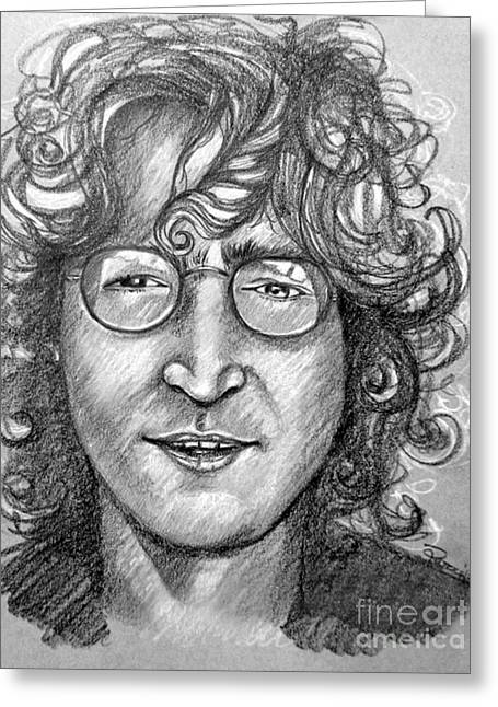 Rocks Drawings Greeting Cards - John Lennon Greeting Card by Patrice Torrillo