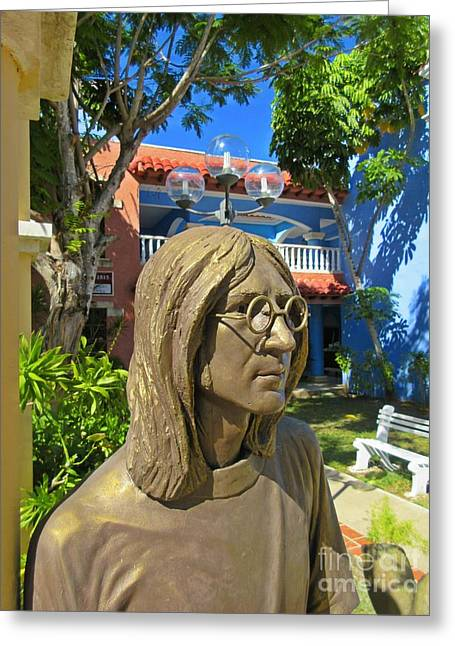 Image Sculptures Greeting Cards - John Lennon Statue Closeup Greeting Card by John Malone