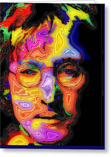 Best Sellers -  - British Portraits Greeting Cards - John Lennon Greeting Card by Stephen Anderson