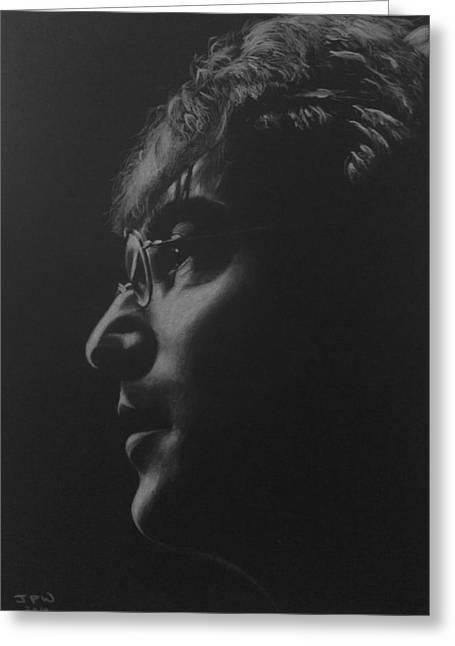 John Lennon Art Drawings Greeting Cards - John Lennon the Dreamer Greeting Card by John Wood