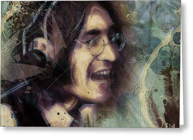 John Lennon Tribute- Don't Let Me Down Greeting Card by David Finley