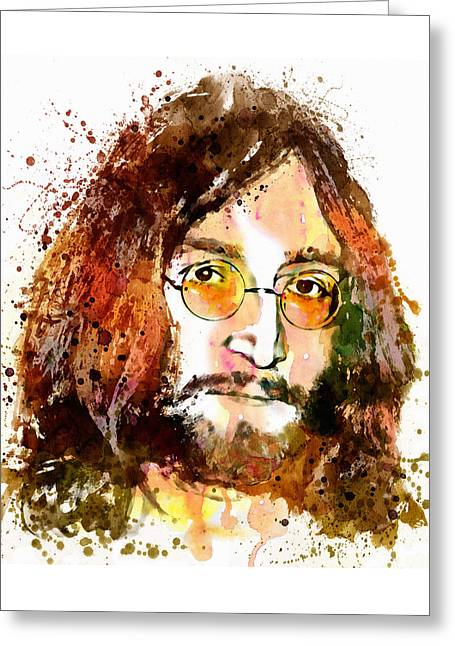 The Beatles. Celebrity Portraits Greeting Cards - John Lennon Watercolor Portrait Greeting Card by Marian Voicu