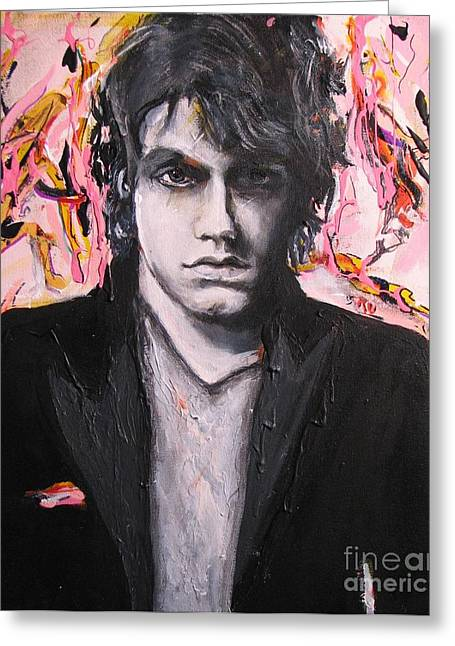 The Beatles. Celebrity Portraits Greeting Cards - John Mayer Greeting Card by Eric Dee
