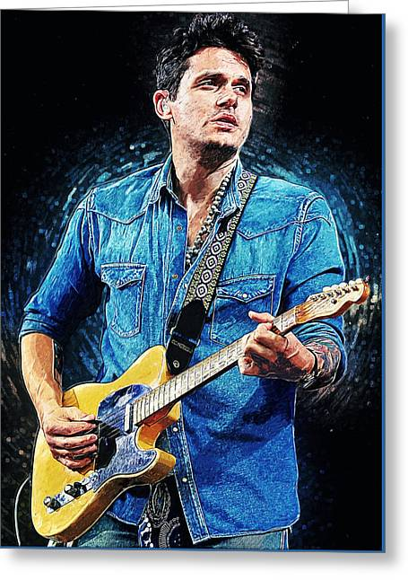 Fender Esquire Greeting Cards - John Mayer Greeting Card by Taylan Soyturk