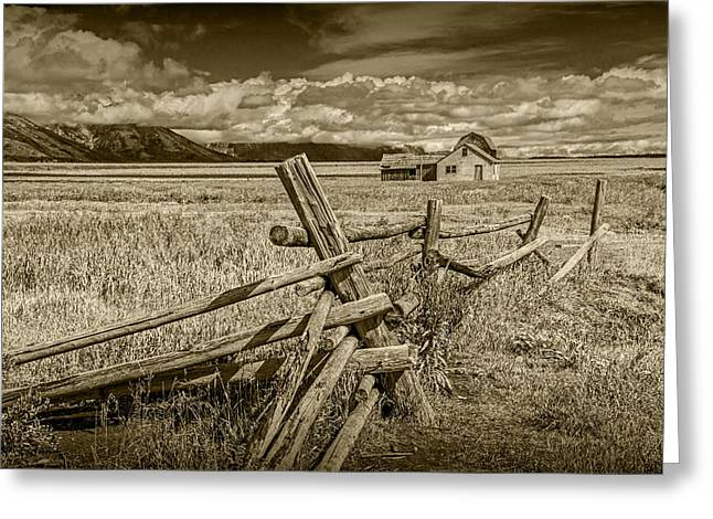 Brown Toned Art Greeting Cards - John Moulton Farm with Wood Fence in Sepia Greeting Card by Randall Nyhof