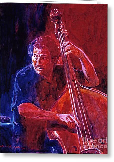 Upright Greeting Cards - John Patitucci From the Bottom Greeting Card by David Lloyd Glover