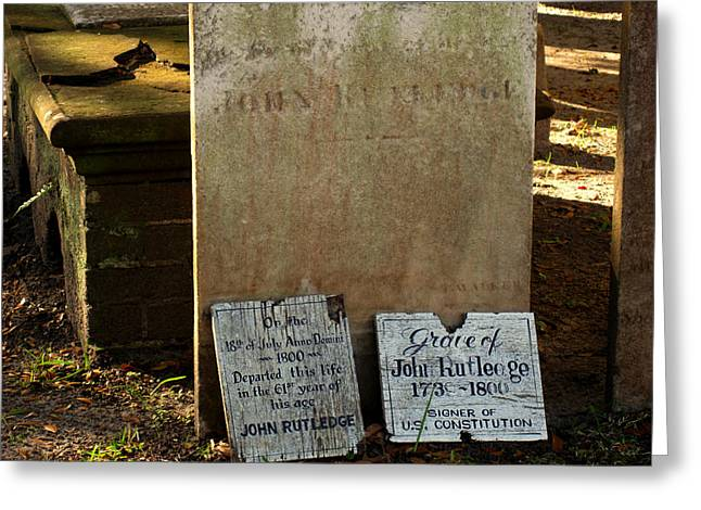 Famouse Greeting Cards - John Rutdledge Grave in Charleston SC Greeting Card by Susanne Van Hulst