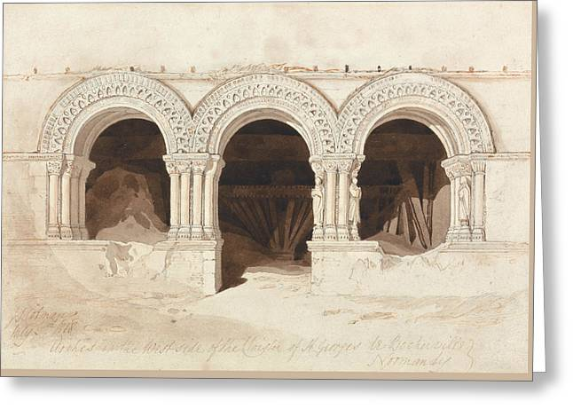 John Sell Cotman - Arches In The West Side Of The Cloister Of Saint Georges De Bocherville Greeting Card by John Sell Cotman