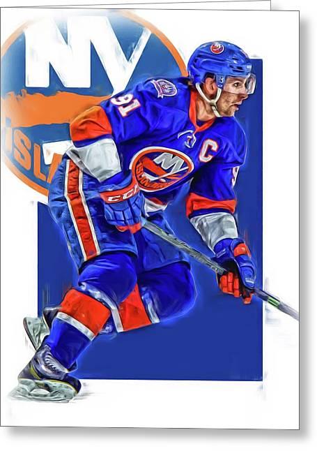 John Tavares New York Islanders Oil Art Series 1 Greeting Card by Joe Hamilton