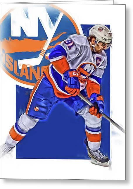 John Tavares New York Islanders Oil Art Series 2 Greeting Card by Joe Hamilton