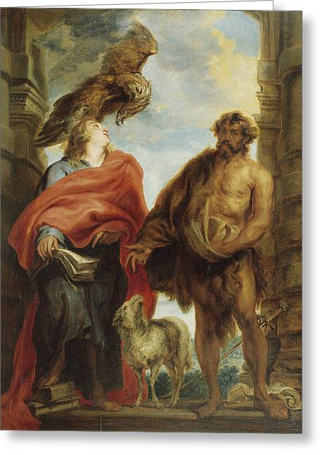 John The Evangelist And Saint John The Baptist Greeting Card by Anthony van Dyck