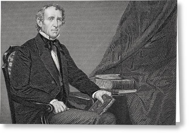 Fame Drawings Greeting Cards - John Tyler 1790 To 1862. 10th President Greeting Card by Ken Welsh