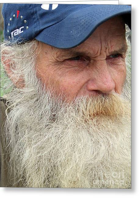 White Beard Photographs Greeting Cards - John Up Close Greeting Card by Joe Jake Pratt
