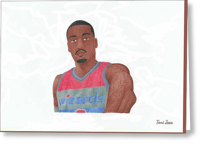 Slam Drawings Greeting Cards - John Wall Greeting Card by Toni Jaso