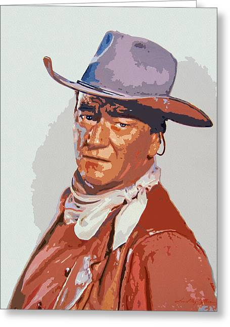 Movie Stars Greeting Cards - John Wayne - THE DUKE Greeting Card by David Lloyd Glover