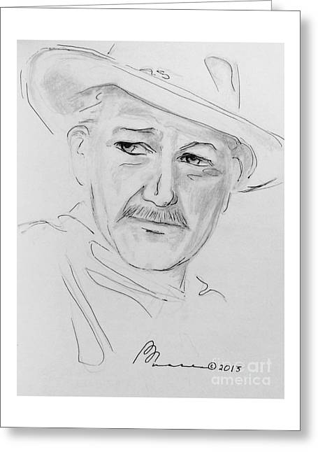 Concern Drawings Greeting Cards - John Wayne Greeting Card by Barbara Chase
