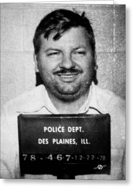 John Wayne Gacy Mug Shot 1980 Black And White Greeting Card by Tony Rubino