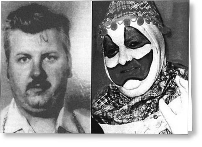 John Wayne Gacy Mug Shot Serial Killer And Clown 1980 Black And White Photo Greeting Card by Tony Rubino
