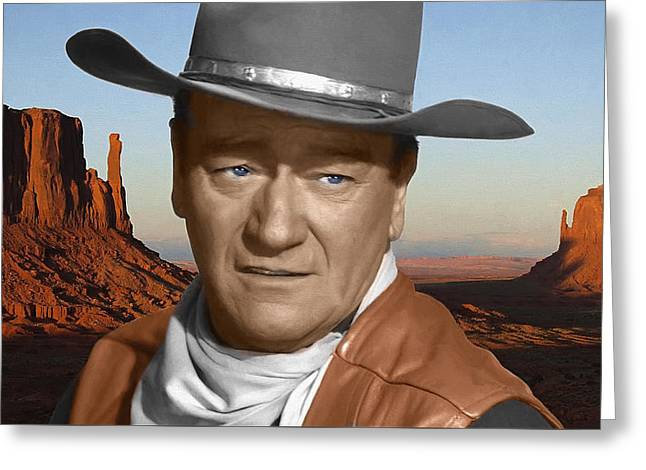 Star Valley Mixed Media Greeting Cards - John Wayne Portrait Greeting Card by Daniel Hagerman