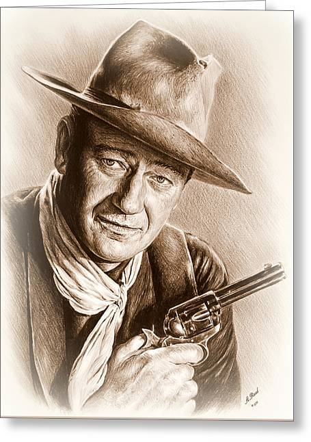 Andrew Michael Greeting Cards - John Wayne sepia frosted Greeting Card by Andrew Read