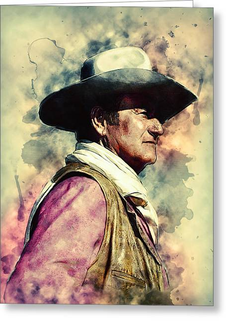Golden Globe Greeting Cards - John Wayne Greeting Card by Taylan Soyturk