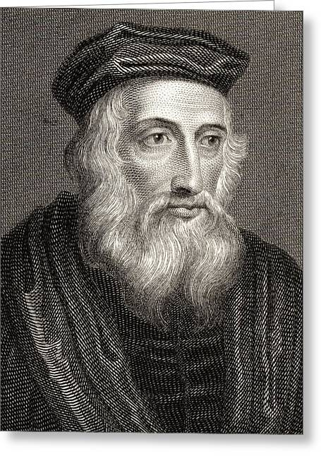 Reformer Drawings Greeting Cards - John Wycliffe, Also Spelled Wycliff Greeting Card by Ken Welsh