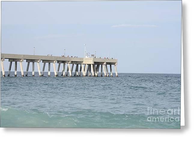 Beach Photography Greeting Cards - Johnnie Mercer Pier Wrightsville North Carolina Greeting Card by John Telfer
